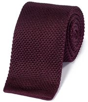 Burgundy silk slim knitted classic tie