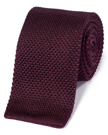 Burgundy silk slim knitted classic tie
