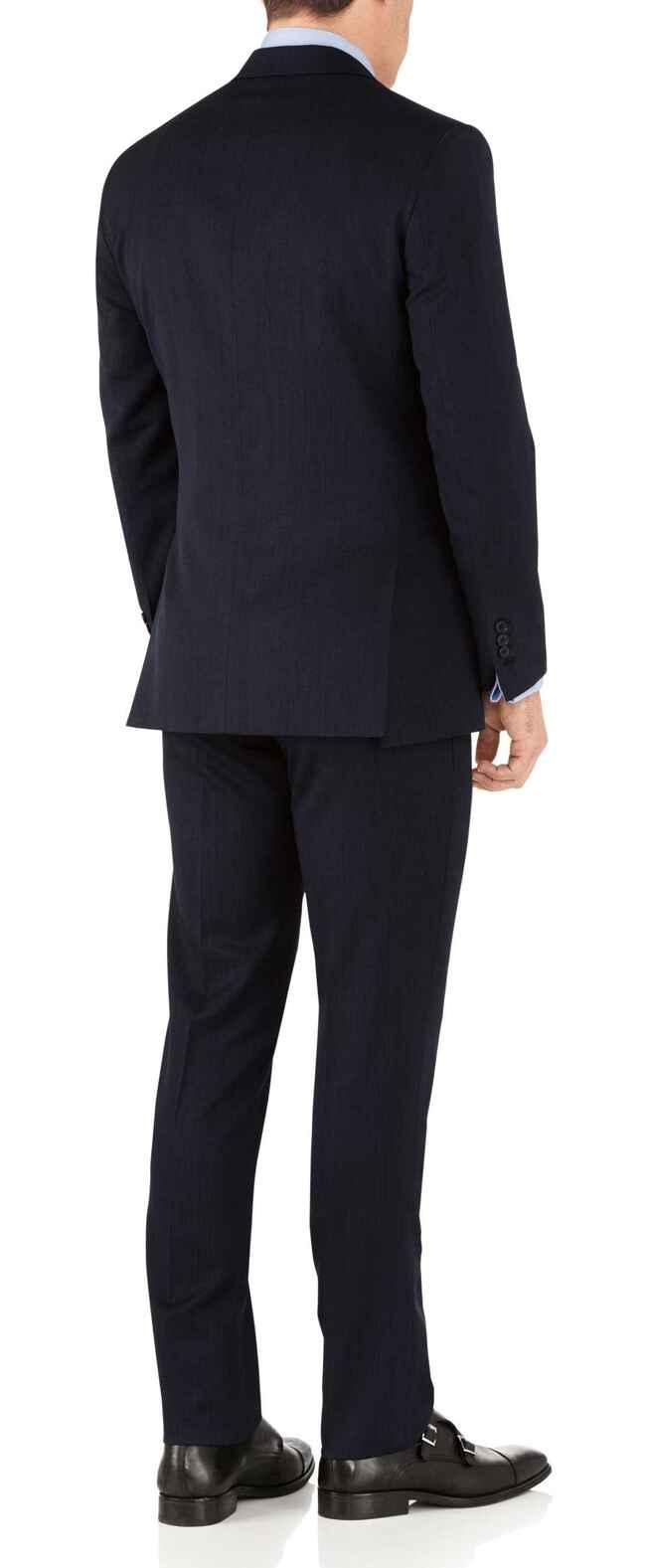 Slim Fit Businessanzug mit Hairline-Streifen in Marineblau