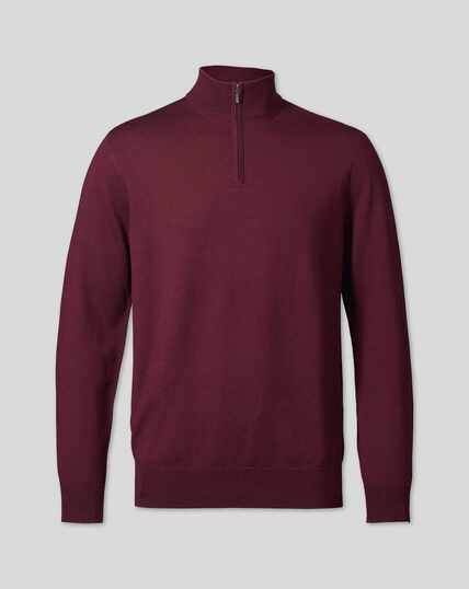 Merino Zip Neck Jumper - Burgundy