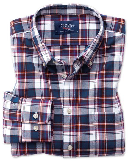 Classic fit button-down washed Oxford white multi check shirt