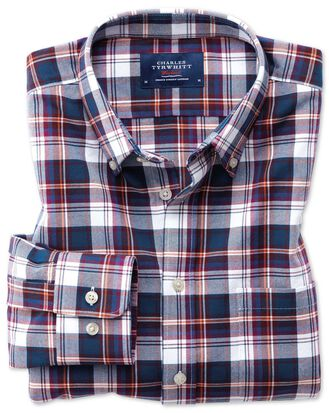 Extra slim fit button-down washed Oxford white multi check shirt