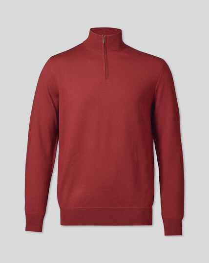 Merino Zip Neck Sweater - Brick Red