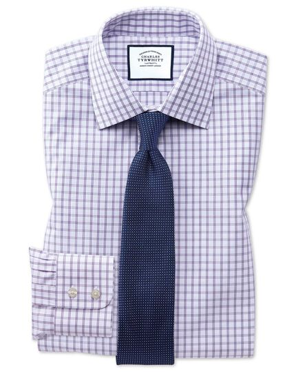 Classic fit purple windowpane check shirt