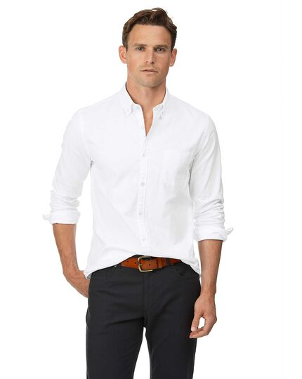 Extra slim fit button-down washed Oxford white shirt