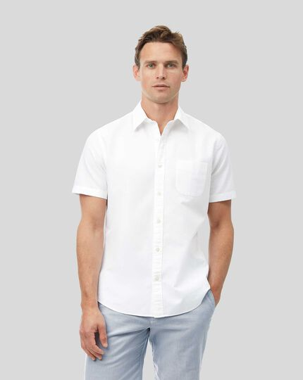 Cotton Linen Short Sleeve Shirt - White
