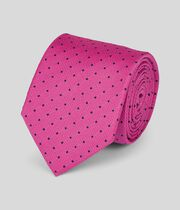 Silk Textured Spot Stain Resistant Classic Tie - Bright Pink