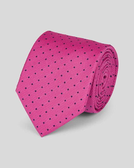 Stain Resistant Silk Textured Spot Classic Tie - Bright Pink