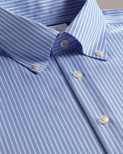 Classic fit business casual non-iron sky blue and white stripe shirt