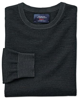 Black and grey merino wool crew neck jumper