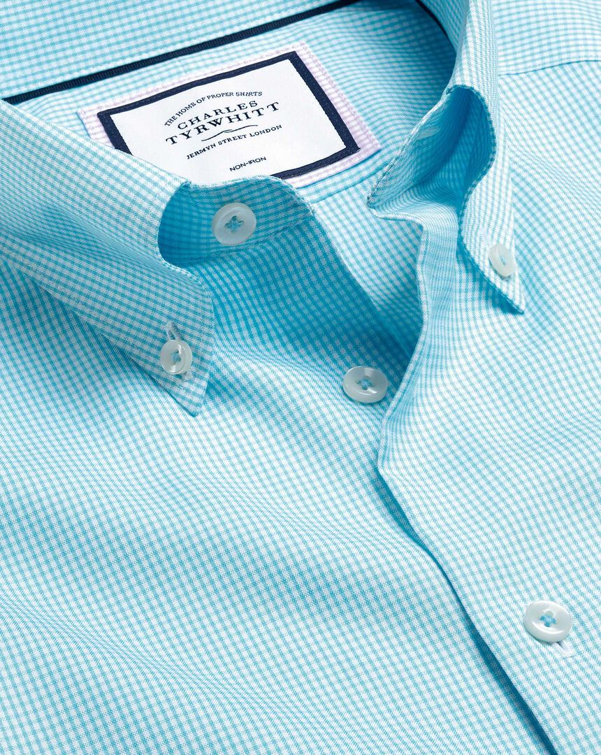 Button-Down Collar Non-Iron Check Shirt - Aqua