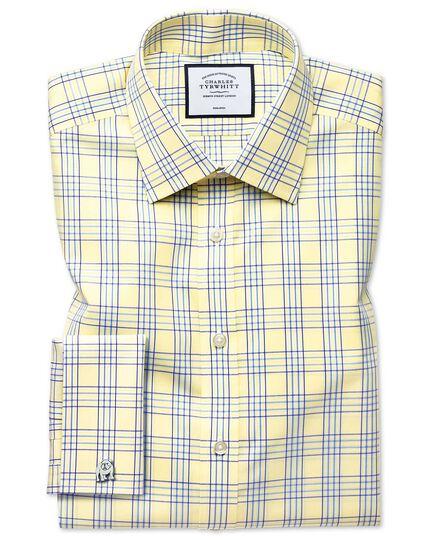 Chemise jaune coupe droite à carreaux Prince de Galles sans repassage