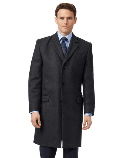 Charcoal Italian wool and cashmere overcoat