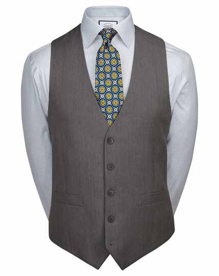 Light grey adjustable fit herringbone business suit waistcoat