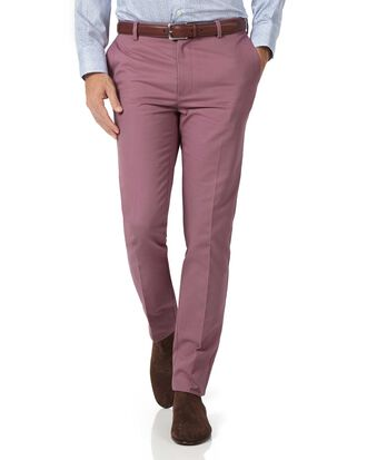 Light pink slim fit flat front non-iron chinos