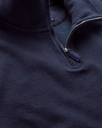 Navy half zip jersey sweater