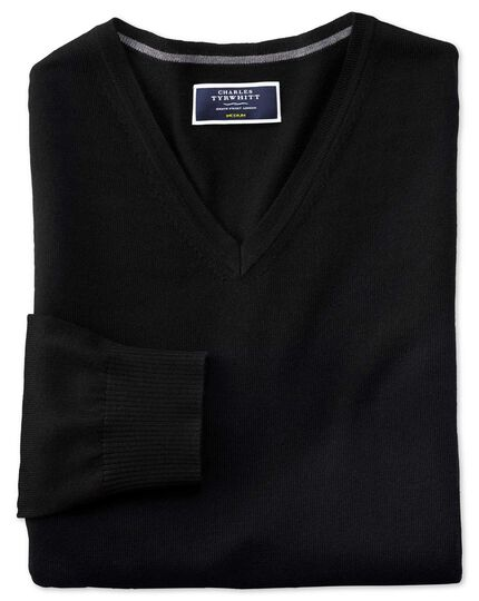 Black merino wool v-neck sweater
