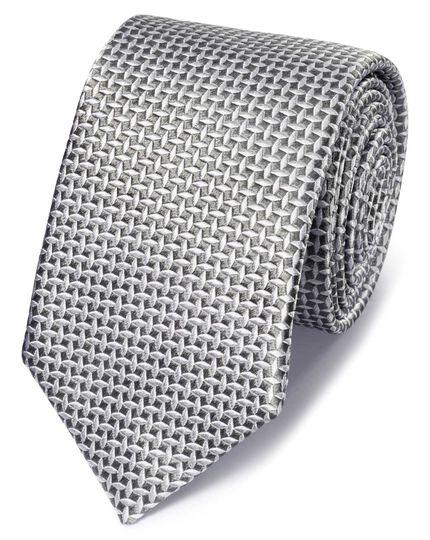 Grey silk diamond lattice classic tie