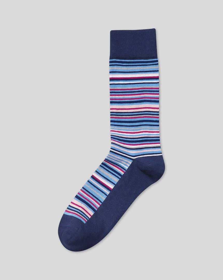 Multi Stripe Socks - Blue & Pink