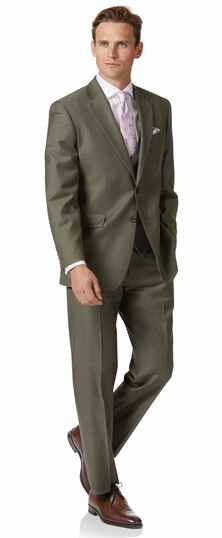 Costume business olive en twill coupe droite