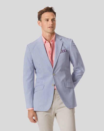 Sakko aus Baumwolle mit Streifen - Blau