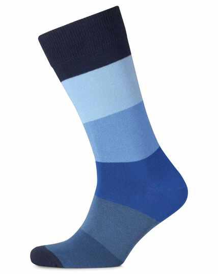 Blue block stripe socks