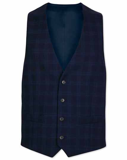 Midnight blue check adjustable fit suit waistcoat