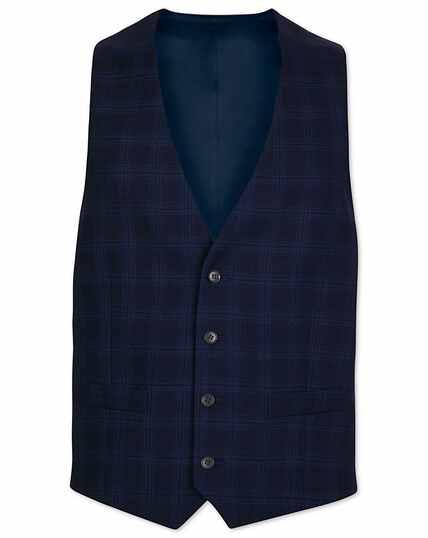 Midnight blue check adjustable fit suit vest
