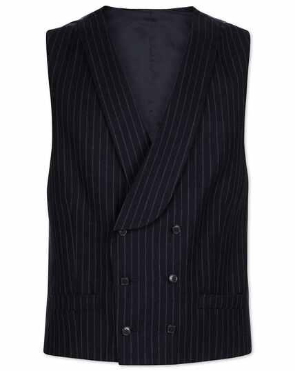 Navy stripe adjustable fit British luxury suit waistcoat