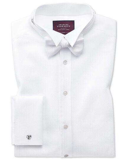 Slim Fit Luxus-Smokinghemd aus Marcella mit Kläppchenkragen in Weiß