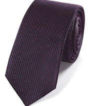 Burgundy and navy mini puppytooth slim tie