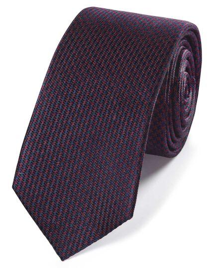 Schmale Krawatte mit Mini-Hahnentrittmuster in Burgunderrot & Marineblau