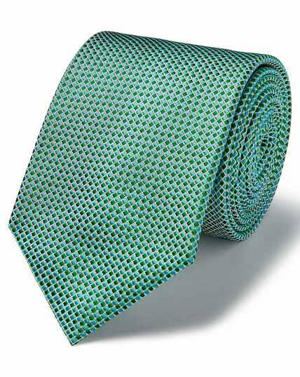 Green and white tonal silk classic tie
