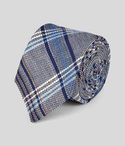Multi Check Linen Italian Craft Luxury Tie - Navy