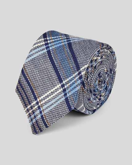 Cravate de luxe confection italienne en lin à carreaux multicolores - Bleu marine à motif