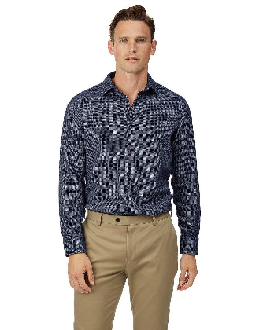 Slim fit winter flannel navy shirt