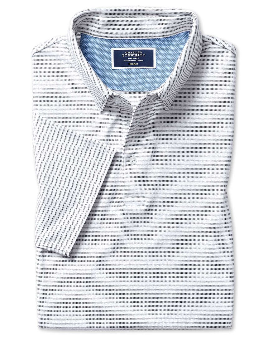 White stripe short sleeve jersey polo