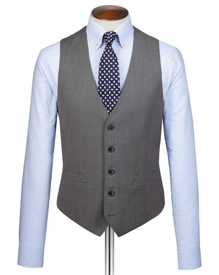 Grey slim fit birdseye travel suit vest