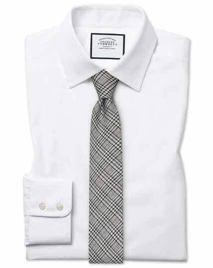 Extra slim fit white Egyptian cotton poplin shirt