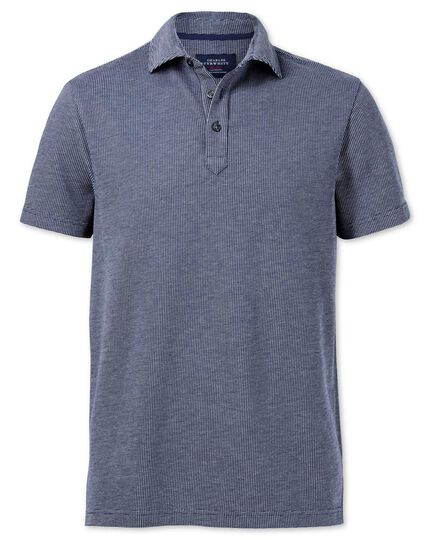 Blue and white birdseye polo