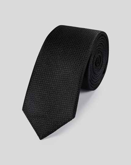 Silk Slim Textured Semi Plain Tie - Black