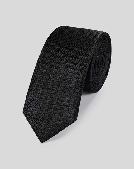 Silk Slim Textured Plain Tie - Black