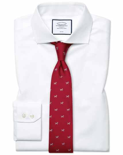 Slim fit white non-iron poplin cutaway collar shirt
