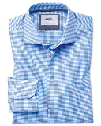 Slim fit semi-cutaway business casual non-iron modern textures sky blue shirt