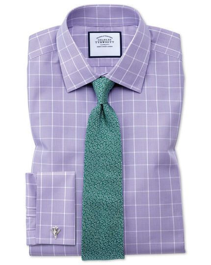 Slim fit non-iron Prince of Wales lilac shirt