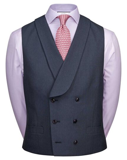 Blue Panama adjustable fit British suit waistcoat