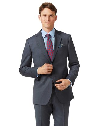 Steel blue slim fit twill business suit jacket