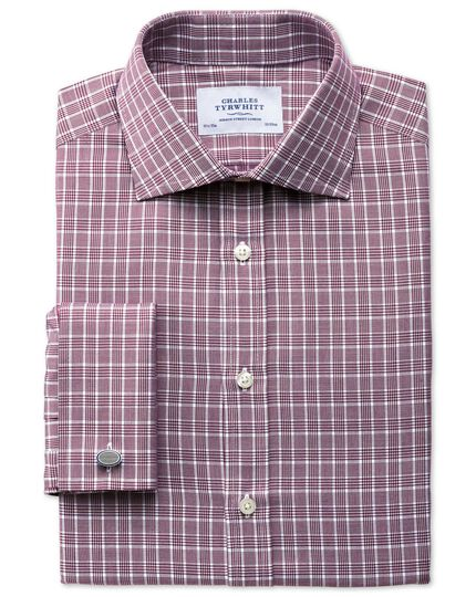 Extra slim fit Prince of Wales basketweave berry shirt
