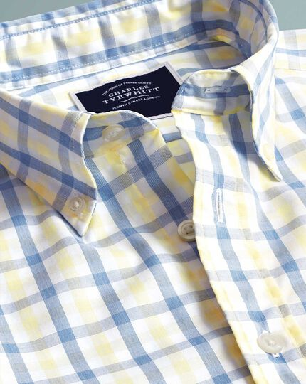 Slim fit yellow and blue gingham soft washed non-iron Tyrwhitt Cool shirt