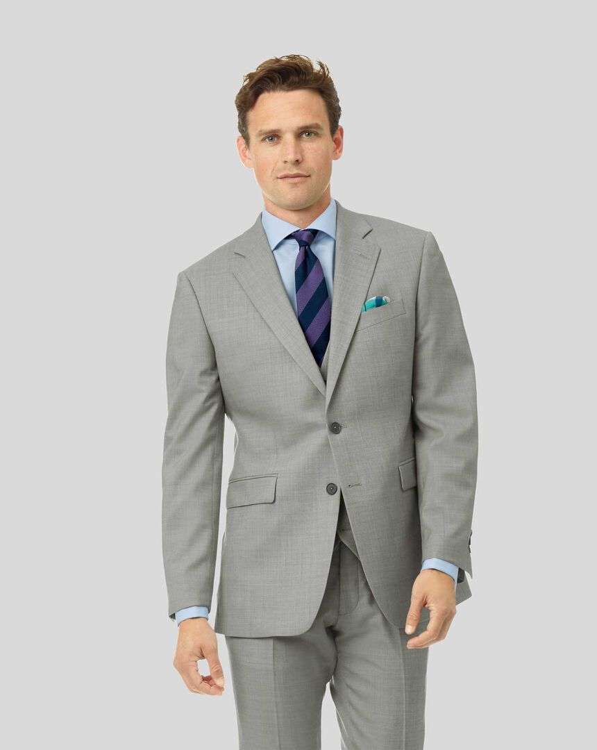 Sharkskin Travel Suit Jacket - Silver
